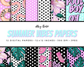 Summer Vibes Paper Set / Digital Scrapbook Paper / Summer Patterns / Pool Party Paper / Wallpaper/Backdrop