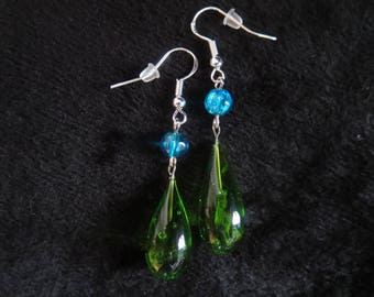 Green and blue Lampwork Glass Stud Earrings