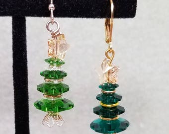 Green Swarovski Crystal Christmas Tree Earrings