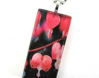 Bleeding Heart Flowers. Glass Pendant Necklace. Handmade.