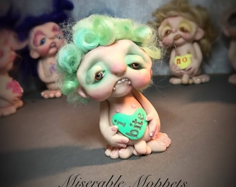 SALE Mini moppet, Valentine's Day art, vampire doll, i bite, ooak doll, handmade art doll, one of a kind sculpture, naked figurine