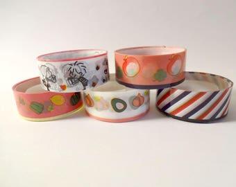 5 masking tape colorful - fruits, vegetables, children, stripes (F)