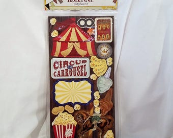 Bo Bunny Carnival Collection - Double Sided Chipboard Embellishment - 47 Pieces