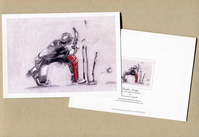 Swept Away Fine Art Cricket Greetings Card Cricket Art