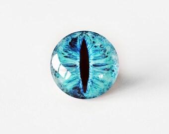 20mm handmade glass eye cabochon - blue cat or dragon eye - standard profile