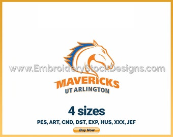Texas Arlington Mavericks - NCAA Sports Logo Embroidery Design - 4 sizes Embroidery