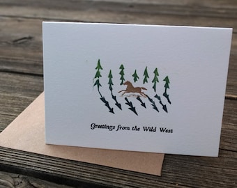 letterpress and hand printed card Greetings from the Wild West