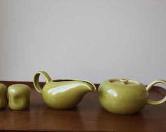 Russel Wright American Modern Chartreuse Dinnerware, Steubenville, Creamer, Sugar Pot, Salt & Pepper Shakers