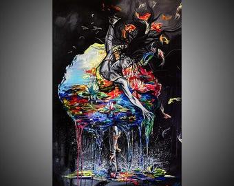 Water oil painting, Ballerina painting, Ballet painting, Ballerina art, Ballet art, Fine art painting, Woman art, Woman painting, Dance art