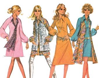 1970 Hippie Vest Pattern Mod A Line Dress Flared Knee Length Vest Out of Print Sewing Pattern McCalls 2500 Size 14 Bust 36 UNCUT