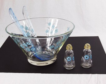 Glass Salad Bowl with Matching Salt and Pepper and Tongs - Blue Cornflowers