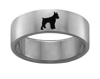 Schnauzer Ring | Stainless Steel | 6mm and 8mm Width | Silhouette Band Style