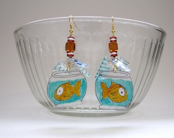 Gold fish in bowl - Recycled plastic and stone earrings
