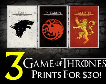 """Game of Thrones House Sigil Set. You Choose 3. Fantasy Pop Art Westeros Poster Song of Ice and Fire Set 11""""x17"""""""