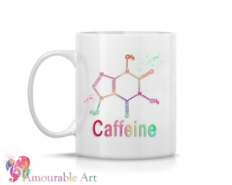 Coffee Mug, Ceramic Mug, Science Mug, Caffeine Mug, Chemistry Unique Coffee Mug, 11oz or 15oz Watercolor Art Print Mug Gift, Two-Sided Print
