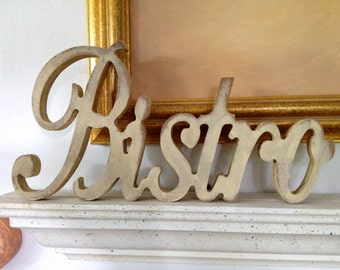 Bistro wood word, bistro script sign, Wood word Plaque.shabby chic bistro sign, antiqued sign. kitchen signs, cafe signs, french bistro sign