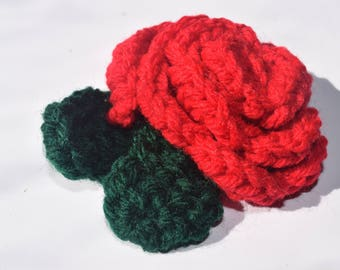 Beautiful Crocheted Rose - Handmade Embellishment
