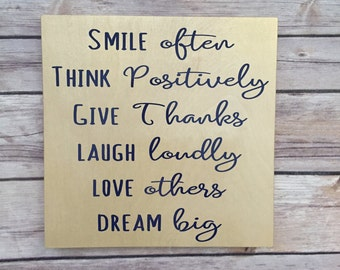 smile often, think positively. give thanks, graduation gift, dorm room,  inspirational quote, uplifting words, motivational quote