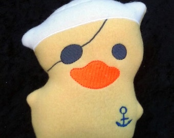 RD the Rubber Duck Stuffed Plushie with Nautical Anchor And Sailor Hat