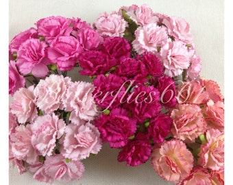 50 Handmade Mulberry Paper Flowers of  mixed Pink  Carnations CA-00