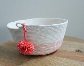 Basket rope coil coral pompom thread natural bin storage organizer bowl by PETUNIAS