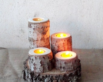 4 Wood Candle Holders - Wood Log Holders - White Tree Candle Holders - Wedding Decoration - Home Decoration
