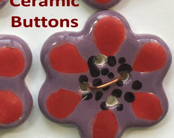 4 Set of Four Ceramic Buttons, 6 Petal Flowers, Flower Shaped,  Just over 1 .1/8 inch Wide,