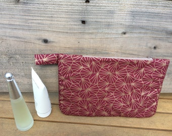Quilted bag, clutch bag Burgundy and gold