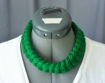Hand Knit Cabled Necklace or Headband in Green or White
