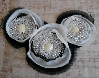 Black and White Pearl Beaded Appliques