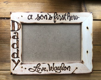 Custom Picture Frame for DAD From His SON Personalized wood frame Father's Day Birthday Just Because...