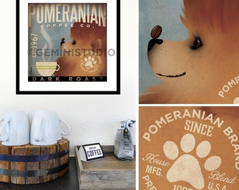 Pomeranian dog Coffee Company graphic artwork giclee archival signed artist's print by Stephen Fowler