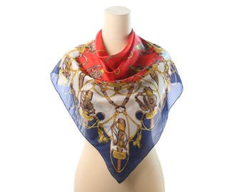 Ladies Royal Silk Scarf 80s Retro SWORD Print Shawl Equestrian Bohemian Red White Blue Luxury Neckwear Retro  Golden Printed Gift Urban