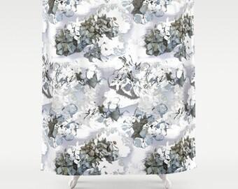 Flower shower curtain, hydrangea powder blue floral design modern gray bathroom decor decorative photo art, gray shower curtain, grey shower