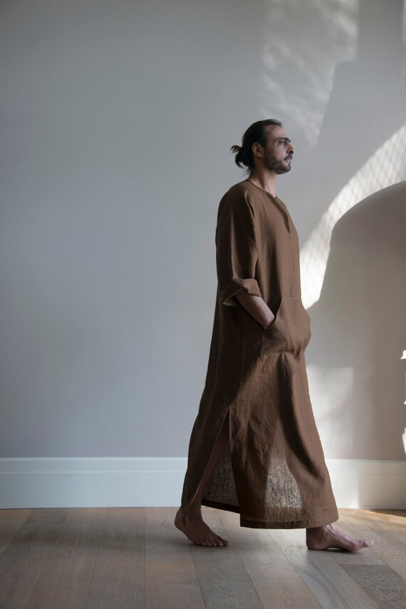linen pure kaftan Simple softened Brown him design for Coffee unique Men's tunic CLASSICO x6SqHzz0