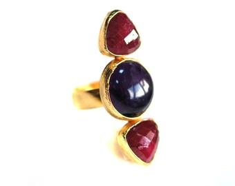 Bague en vermeil, rubis or, anneau d'améthyste, grosse bague, grosse bague améthyste, rubis et améthyste bague, bague trois pierres, Sterling Silver, grosse bague rubis