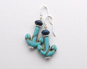 Anchor Earrings. Turquoise Blue and Navy Blue Earrings. Nautical Jewelry. Magnesite / Howlite Earrings with Sterling Silver.