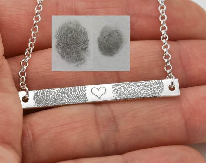 Fingerprint Necklace, Fingerprint Jewelry, Handwriting Engraving, Personalized Jewelry, Bridesmaid Gift, Bar Necklace, Engraved Necklace