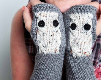 Knit Fingerless Gloves Cream Owl Gloves Knit Accessories Womens Winter Gloves  Knit Grey Gloves Knit Arm Warmers Knit Hand Warmers