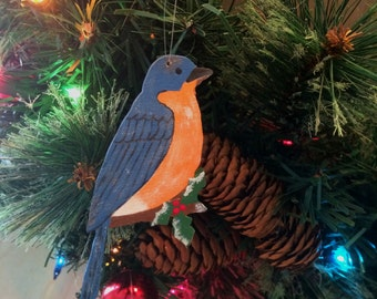 Bluebird Ornament - Bluebird Christmas Ornament - Wooden  Bluebird - Christmas Ornament