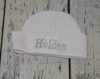 Monogrammed Newborn Baby Beanie Cap, Personalized Baby Hat Custom Colors and Font