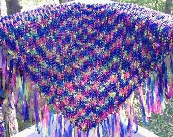 Self fringing shawl knitting pattern PDF USE any yarn Easy to Knit- beginner project