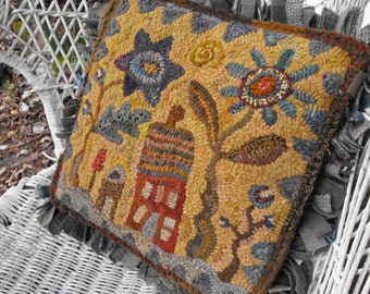 Hideaway House Pattern PDF for rug hooking and punchneedle embroidery//floral and scallops