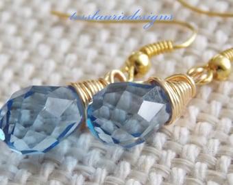 Blue Teardrop Earrings Dangle Earrings Blue Wedding Christmas Gift Thanksgiving Jewelry Bridesmaids Jewelry Flower Girl Jewelry