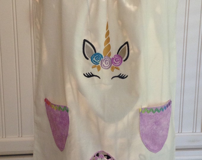 Vintage pillow case dress girls dress vintage embroidered crocheted pillow case unicorn embroidery purple pockets rainbow ricrac purple trim