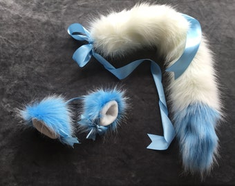 One OFF. Luxury Capri blue and Ivory Kitten  Wolf Play Set Tail & Ears
