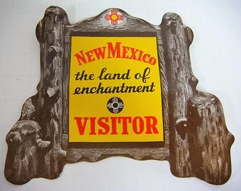 New Mexico Gummed Window Stick from 1960-61 Edwin L Mechem Governor Visitor Parks Sticker