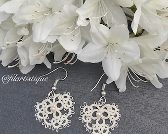"""Romantic earrings """"heart of the bride"""" by artistic wire, tatting"""
