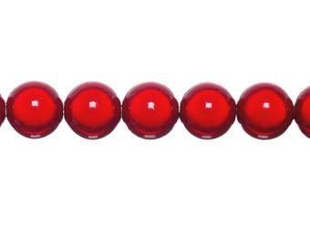 10 x 6mm - red magic round beads