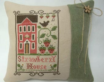 Strawberry House Cross Stitch Mini Pillow, Strawberry Plants, Summer Berries